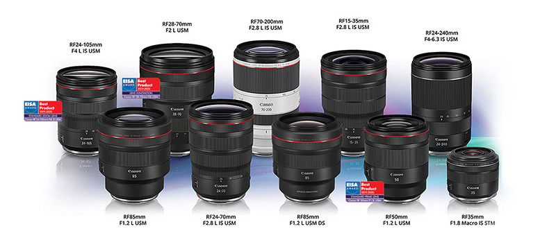 Canon's RF prime lenses can achieve a full open aperture of f/1.2, while zoom lenses can provide a constant f/2 aperture throughout their zoom range.