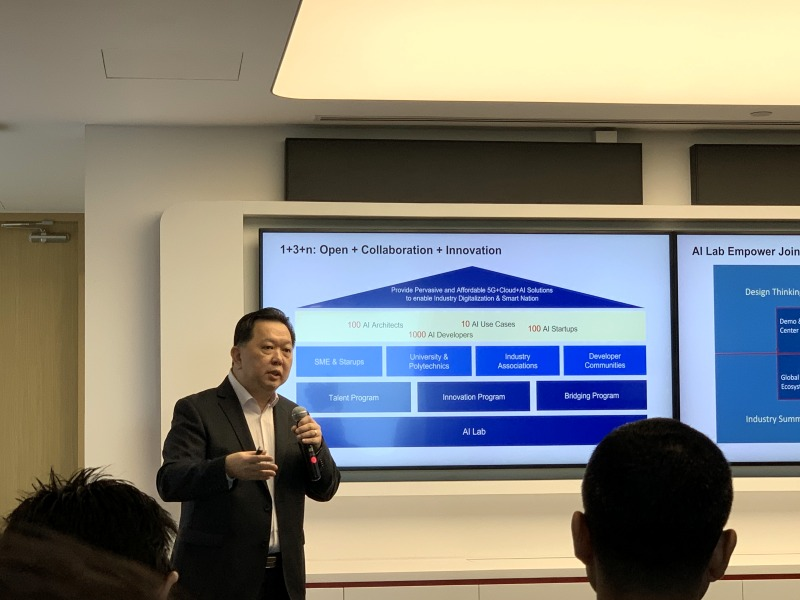 Chief Marketing Officer of Huawei Cloud Asia Pacific Region, Neo Teck Guan explaining what their 1+3+n plan is all about