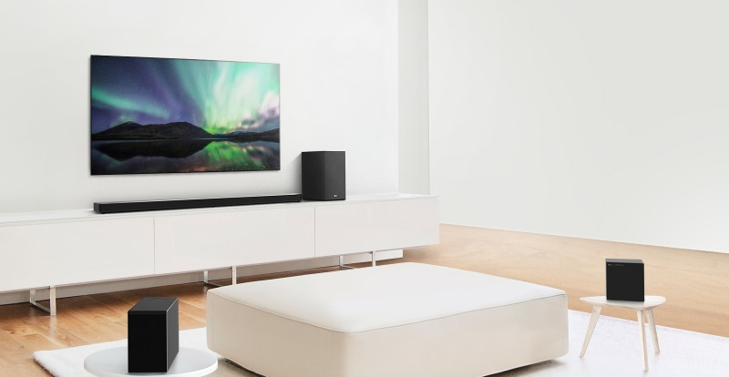 The SN11RG coupled with the optional SPK8 Wireless Rear Speaker Kit. (Image courtesy of LG.)