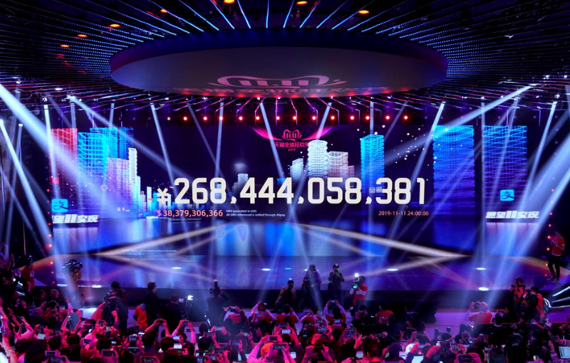The screen shows the amount shoppers spent on Alibaba's online shopping platforms.(Image source: Reuters)