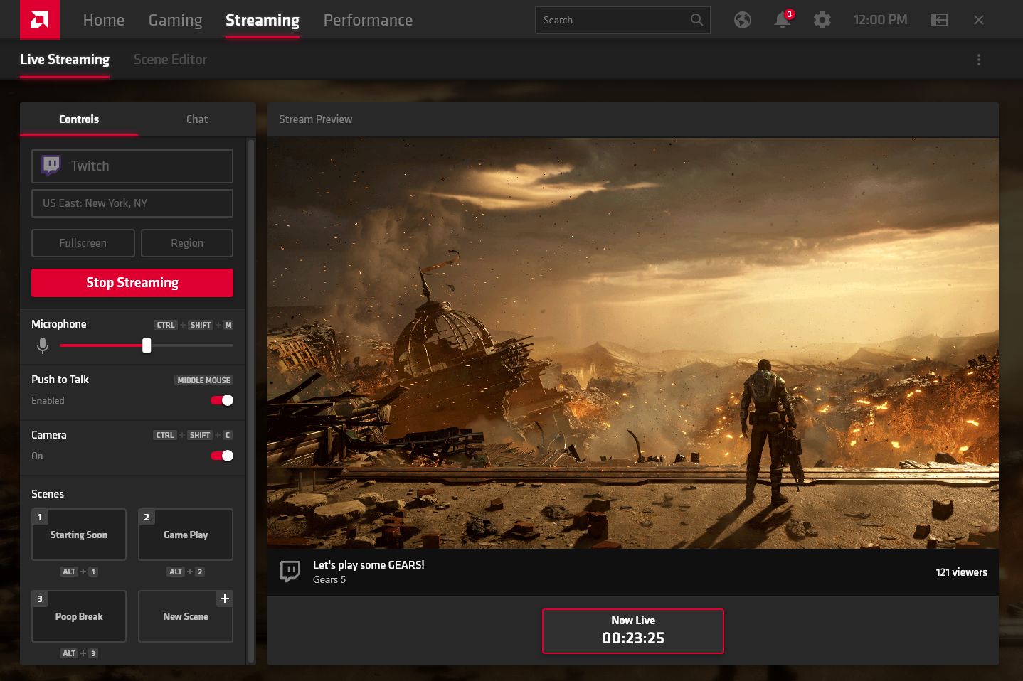 The in-house developed streaming features only takes up 3% overhead while streaming. (Image source: AMD)