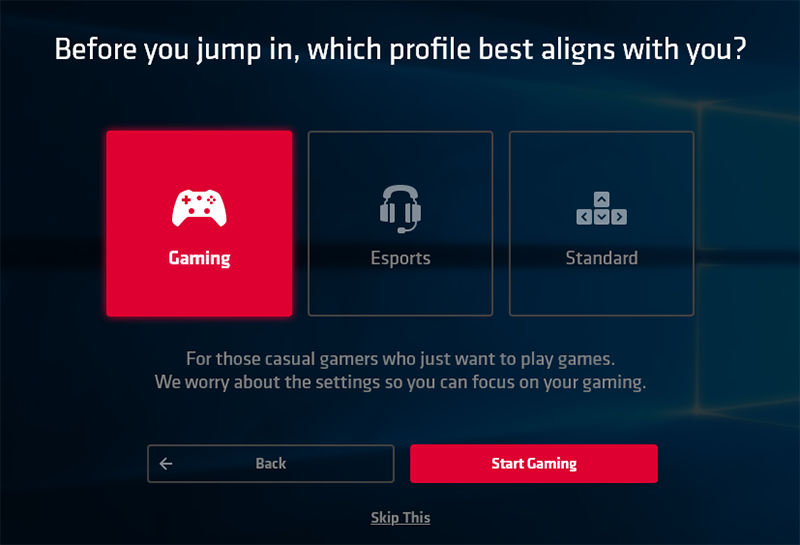 Different gaming profiles let you jump into games quicker. (Image source: AMD)