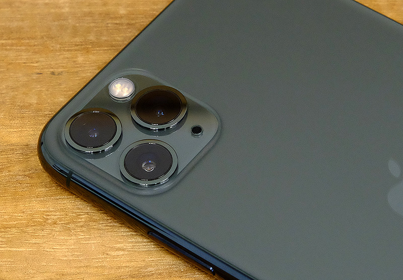 The triple-lens system on the Apple iPhone 11 Pro Max.