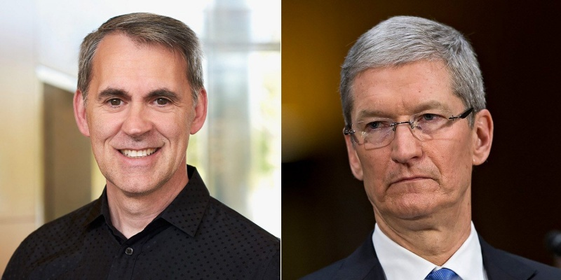 Left: Gerard Williams. Right: Tim Cook. <br>Image source: 9to5Mac