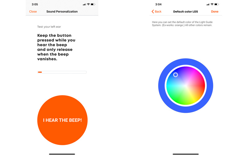 The app primarily allows for customization in terms of light colours and sound optimization.