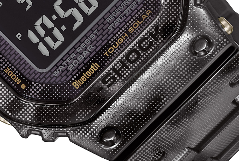 A close-up reveals the engraved camouflage pattern. (Image source: Casio)