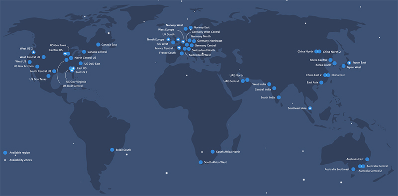 Microsoft's Azure servers are spread across the globe. (Image source: Microsoft)