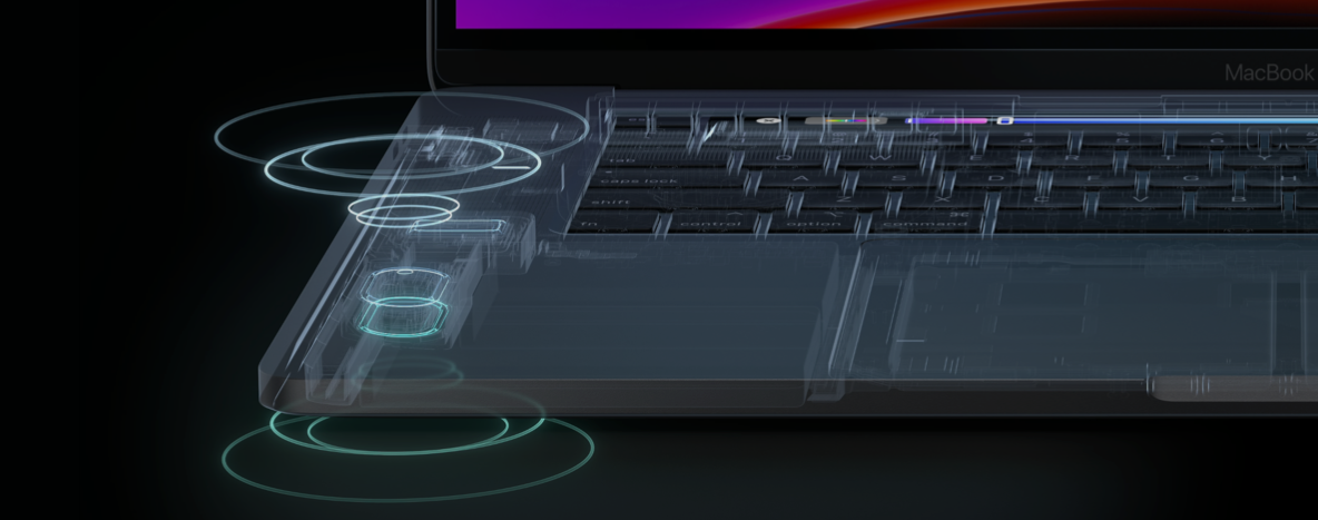 The woofers are placed back to back to reduce distortion. (Image source: Apple)