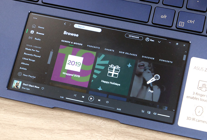 The trackpad doubles up as a secondary display. Here, it's running the specially optimised Spotify app.