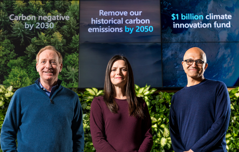 Microsoft President Brad Smith, Chief Financial Officer Amy Hood, and CEO Satya Nadella. (Image source: Microsoft)
