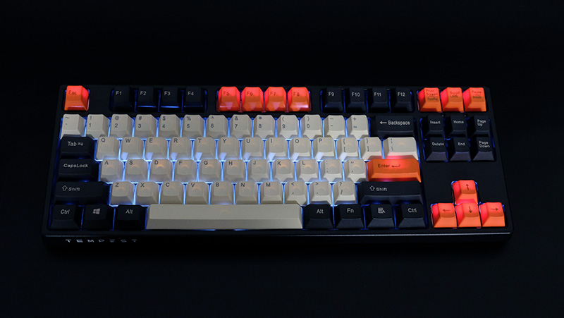 Conversely, the bleeding is more obvious on the orange keycaps on the Monarch.