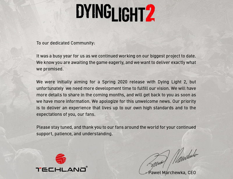 Techland's full statement on the delay. | Image: Techland's Twitter account