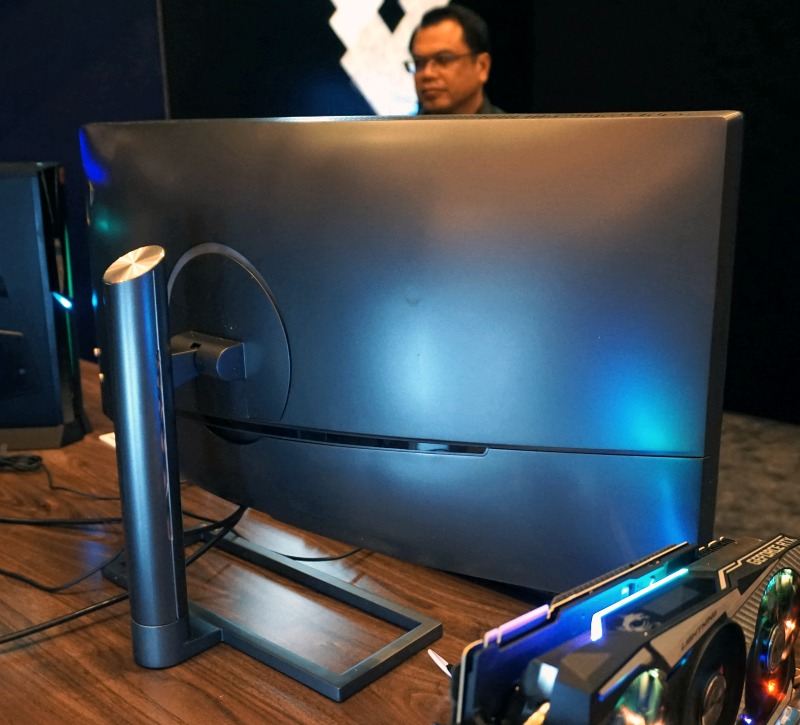 A rear view of the expansive monitor.