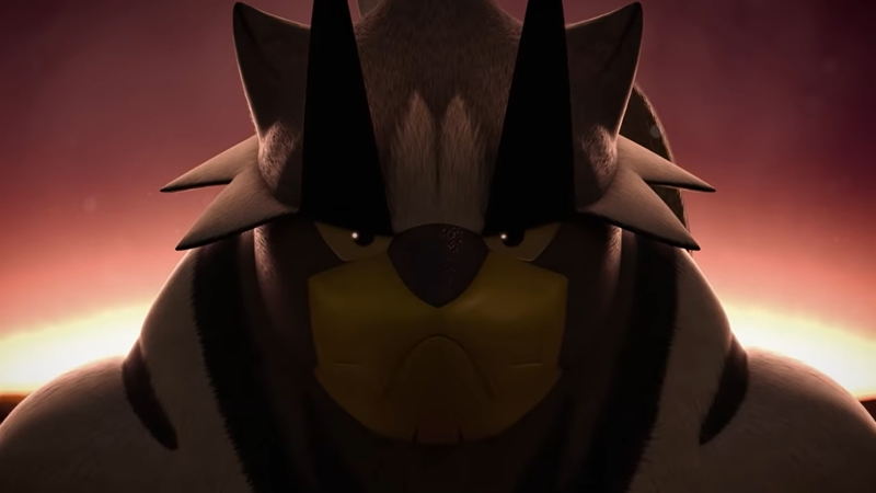 A screenshot of Urshifu from the official announcement trailer.
