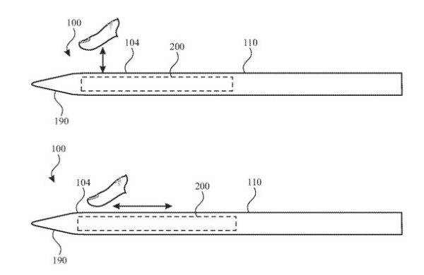 Apple's latest patent application for a Apple Pencil with touch-sensitive controls.
