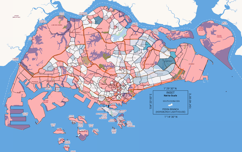 Red indicates no BlueSG station; translucent indicates very few, with deeper shade of blue indicating several. With the exception of controlled and uninhabited areas, note that Orchard, CBD, business parks, and industrial areas have little to no stations. This is also noticed in areas like Bukit Timah, Thomson, Moulmein and Marine Parade. (Data source from BlueSG; map generated from OneMap.)