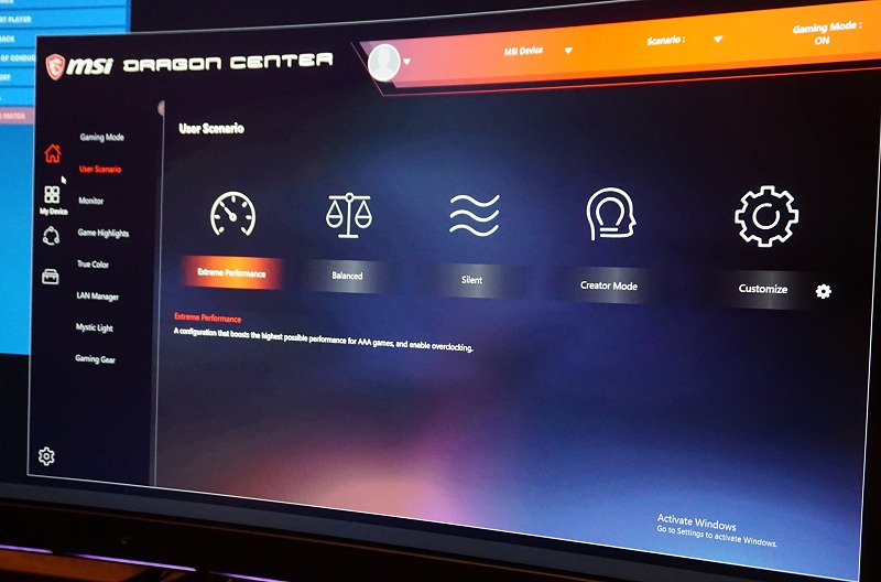The updated Dragon Centre has a much more modern UI that keeps up with current typography and visual presentation trends. Good job with the simplicity and modern look, MSI.