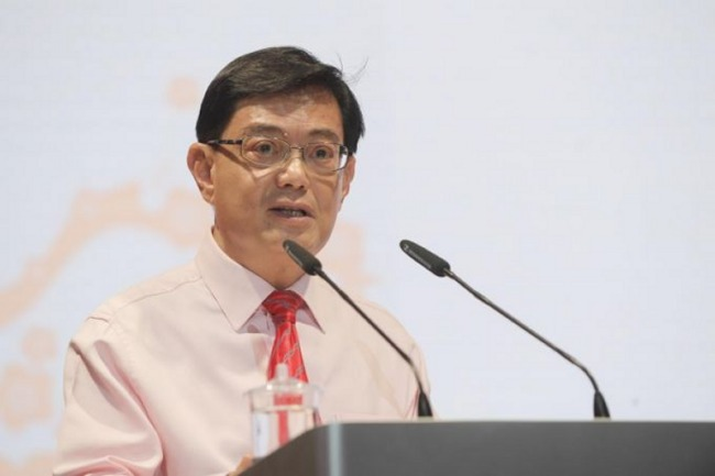 Singapore's Deputy Prime Minister and Finance Minister Heng Swee Keat giving his annual budget speech to parliament. (Image source: ST PHOTO,  Alphonsus Chern.)