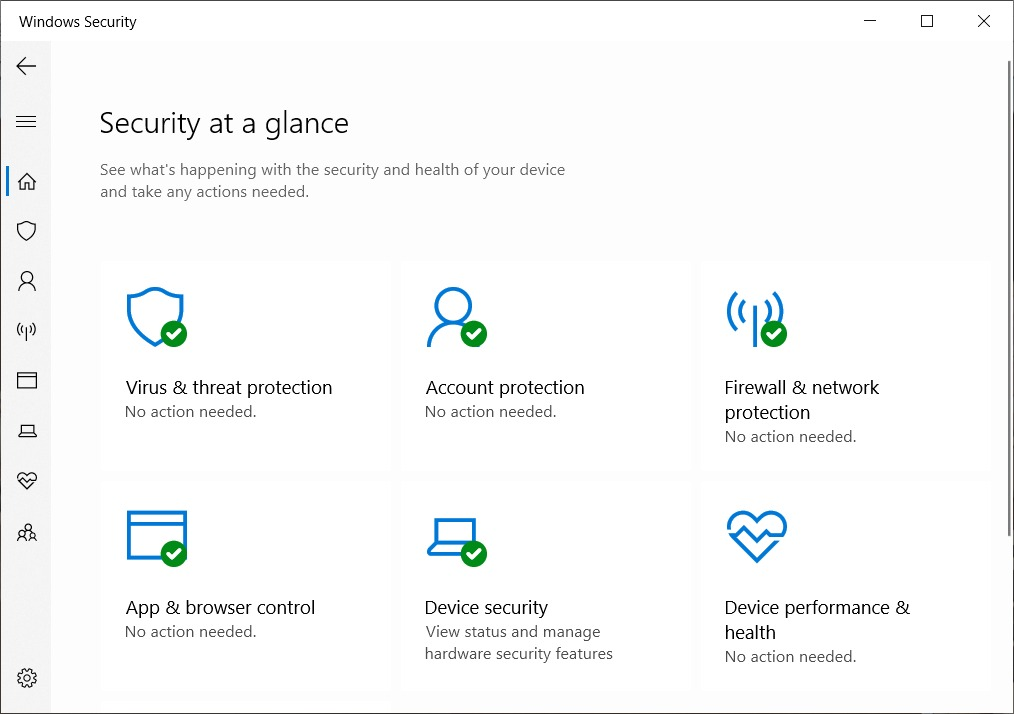 The Windows Defender dashboard on your Windows 10 OS.