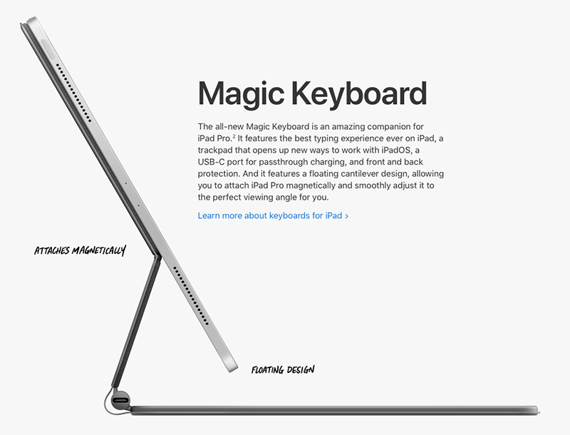 The Magic Keyboard looks fancy and promising, but sadly won't be available until May later this year.