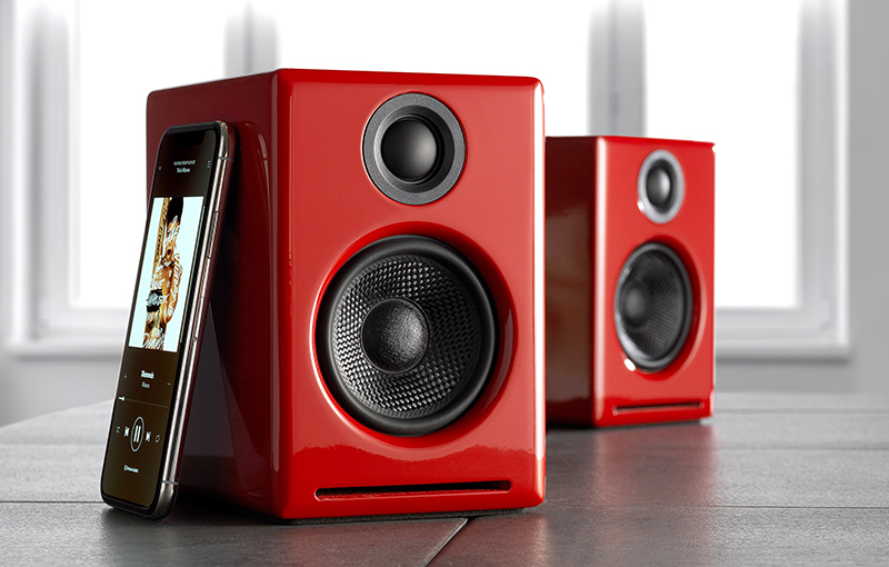 The Audioengine A2+ comes in three finishes: satin black, hi-gloss red, and hi-gloss white. (Image source: Audioengine)
