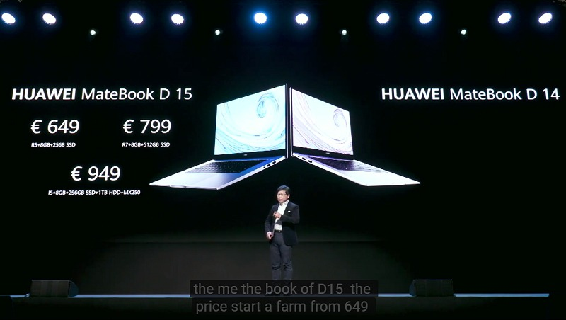 Huawei MateBook D 15 prices in Euros.