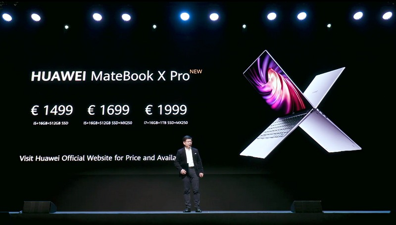 Pricing for the MateBook X Pro in the European market.