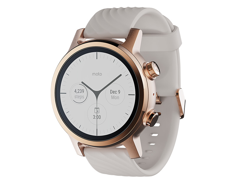 The Moto 360 in rose gold PVD coating. (Image source: Moto 360)
