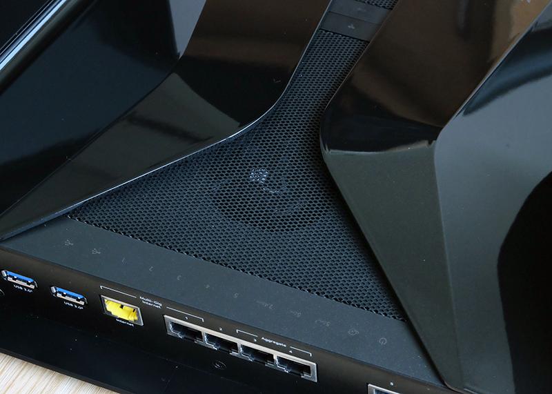 The Netgear Nighthawk RAX200 has a fan to help keep the router cool.