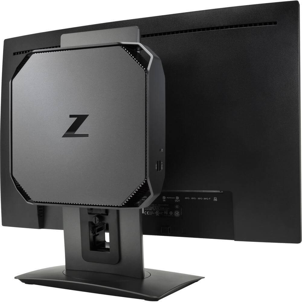 HP Z2 Mini attached to a monitor.