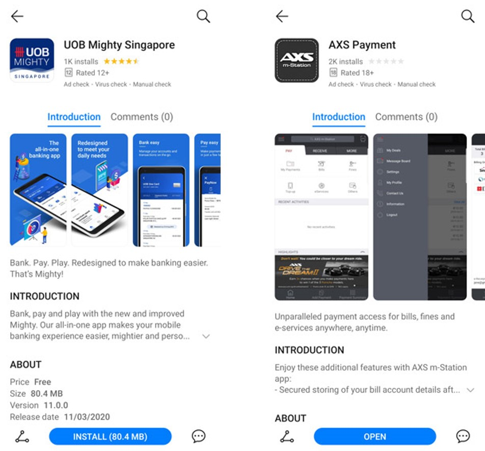 UOB and AXS are now available on HMS. More banking apps from the likes of DBS and OCBC will also be available soon.