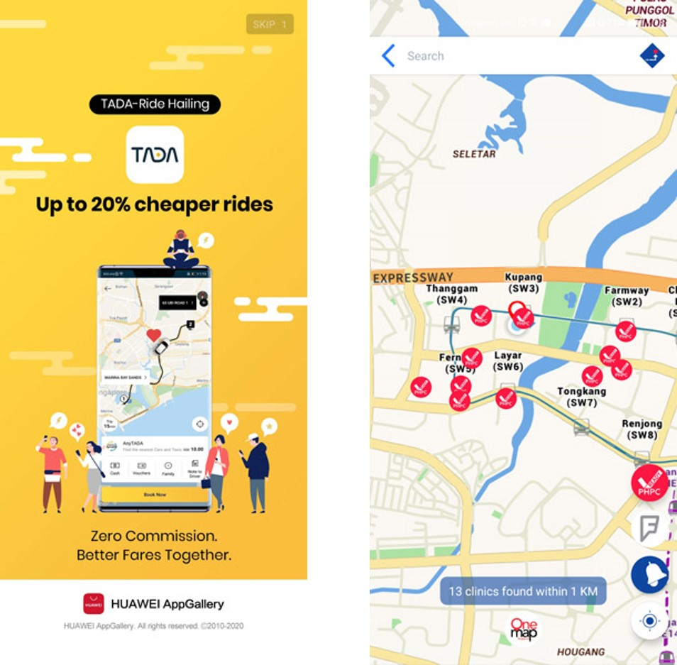 Maps and ride-hailing Apps like TADA are also available in HMS now.