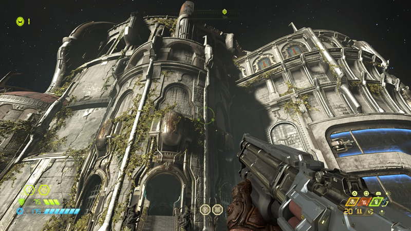 The Slayer resides in a hub called the Fortress of Doom, which you're taken to in between missions. It's a great place to explore - containing several items, upgrades and... familiar skins. Wink, wink.