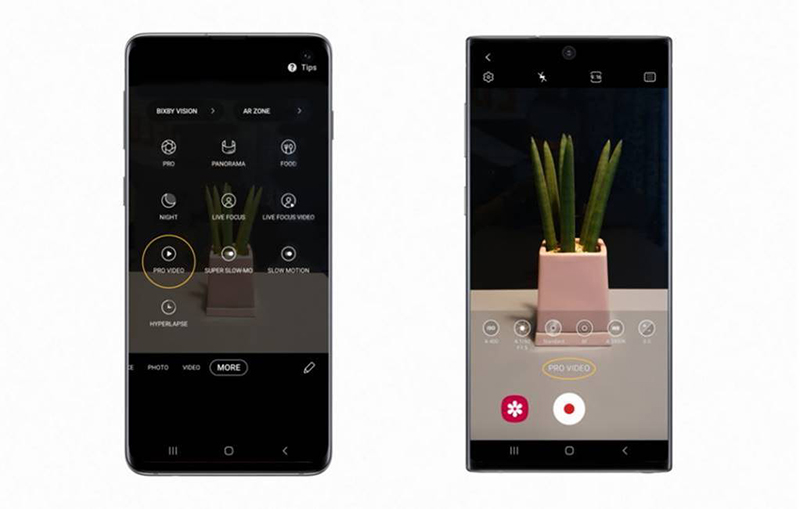 Pro Video now available on the Galaxy S10 (left), Shooting video in Pro Video mode on the Galaxy Note10 (right).