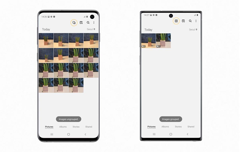 Tap the highlighted icon to group/ungroup gallery images on the Galaxy S10 (left), Clean View after grouping images on the Galaxy Note10 (right).