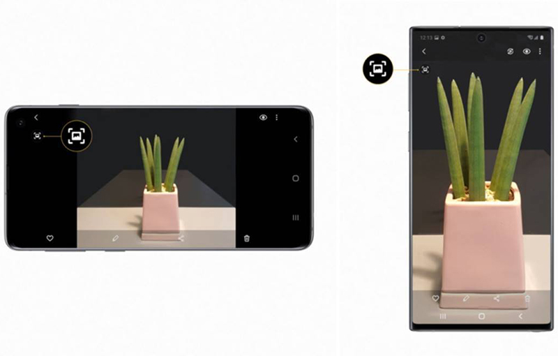 Quick Crop available on the Galaxy S10 (left), Quick Crop available on the Galaxy Note10 (right).