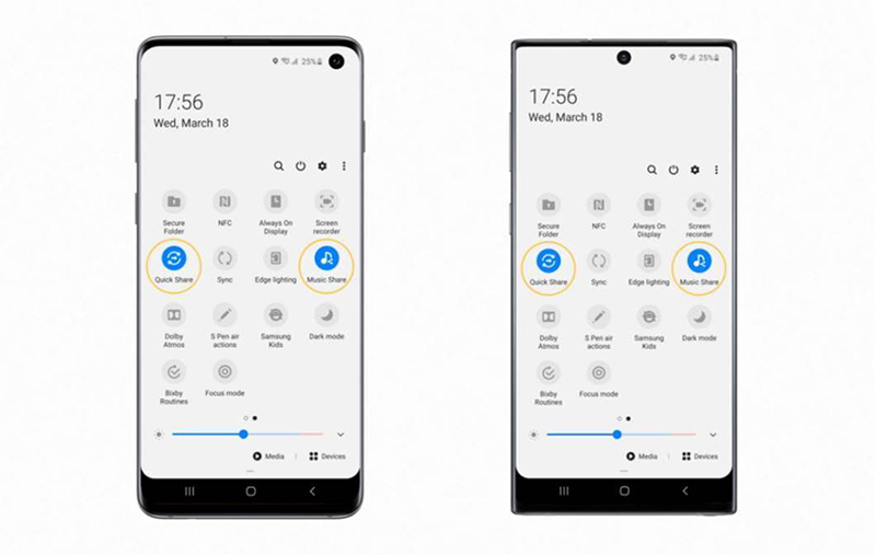 Quick Share and Music Share available on the Galaxy S10 (left), Quick Share and Music Share available on the Galaxy Note10 (right).
