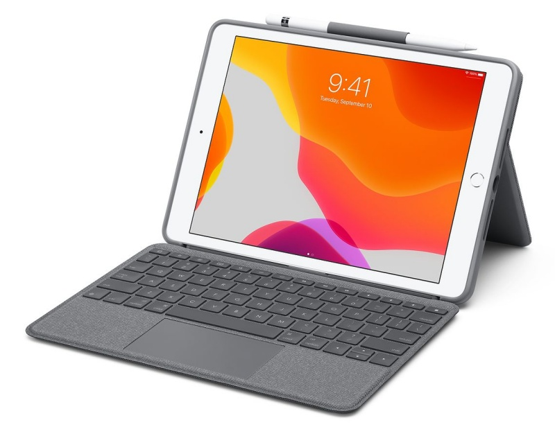 The Logitech Combo Touch Keyboard Case with Trackpad for iPad.