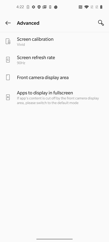 OnePlus 8 display options.