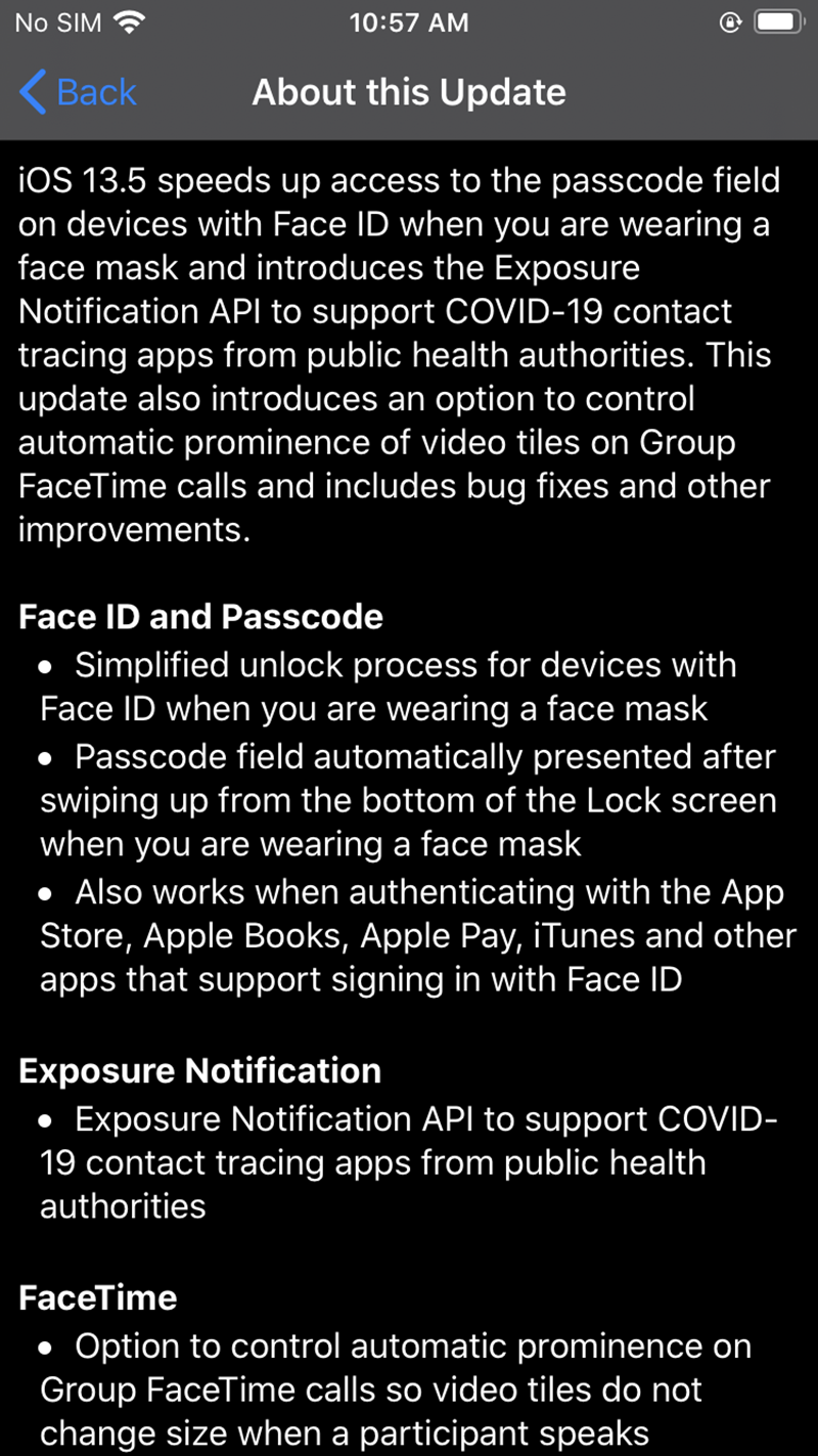 Update for iOS 13.5. Source: Settings app on iPhone.