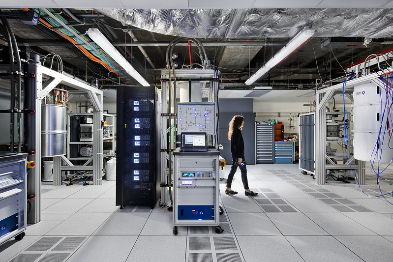 An IBM quantum scientist walks across the IBM Q computation center at the Thomas J Watson Research Center in Yorktown Heights, New York. Image courtesy of IBM