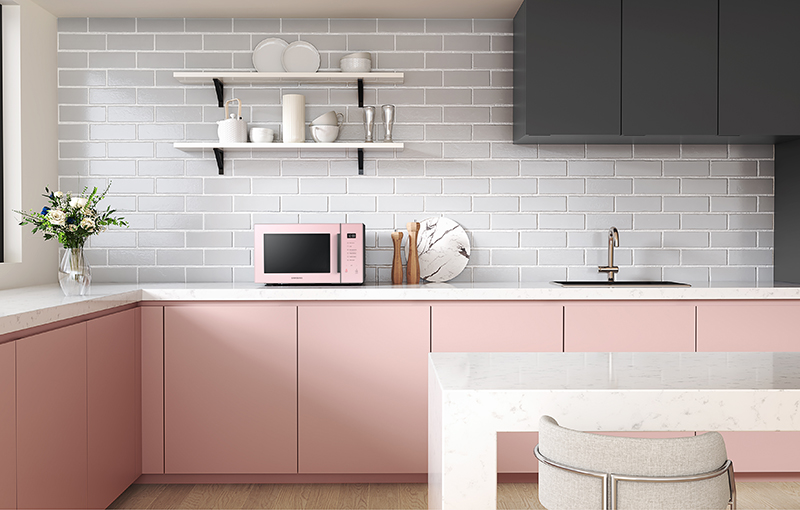 Samsung Colour Series Microwave Oven in Pink (centre).
