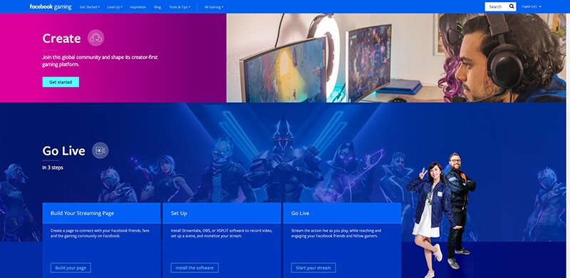 The official landing page for content creators interested in Facebook Gaming.