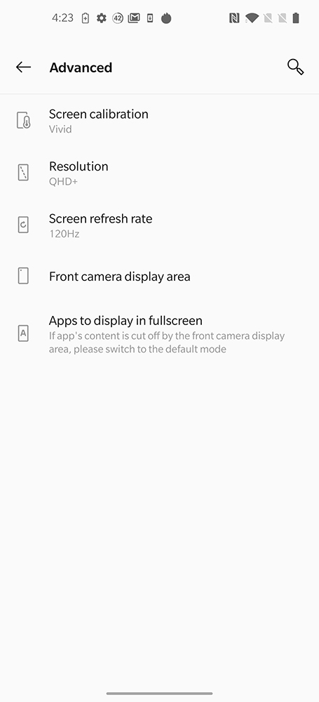 OnePlus 8 Pro's display options.
