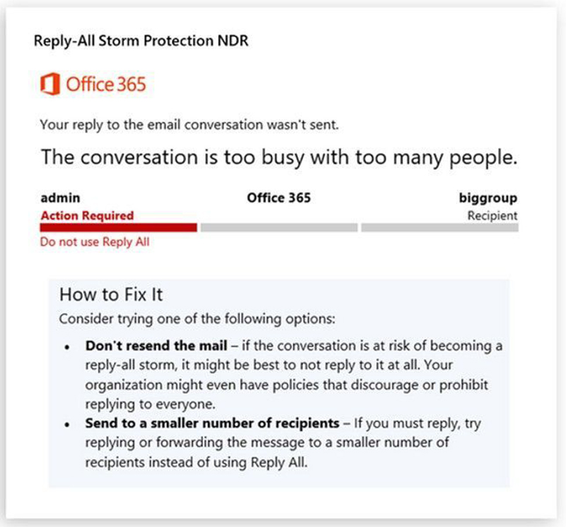 Example of the notification when Reply All Storm Protection is active. Source: Microsoft.