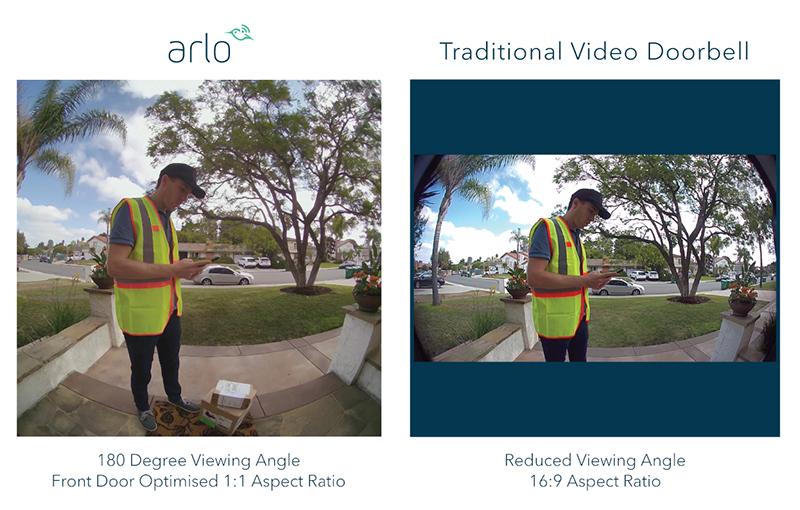 Arlo's comparison between their Arlo Video Doorbell footage and conventional smart doorbell footage.