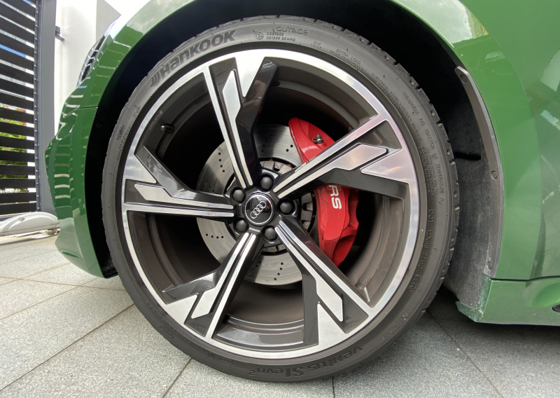 20-inch wheels and steel brakes are standard. Ceramic brakes are a S$28k option. Ouch.