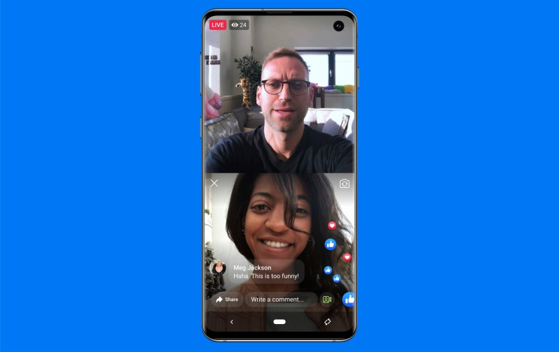 Facebook's Live With allows you to add another person to your live video. <br>Image source: Facebook