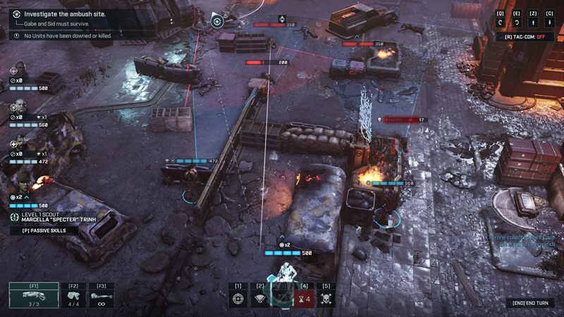 Executing downed enemies or chainsawing them can earn the entire team bonus action points, which could then be used to execute other enemies. You could build up a devastating series of combos against enemies this way, making gameplay much more aggressively fast-paced compared to XCOM.