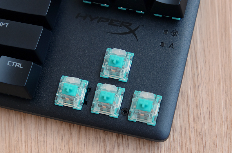 Behold, the HyperX Aqua switch. It's an interesting colour choice for a key switch.